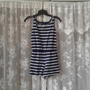 Navy blue and White Shorts Jumper